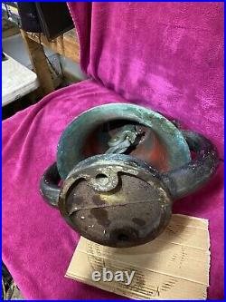 Antique Vintage Train Locomotive Brass Bell & Cast Iron Hanger Cradle 21 13.5