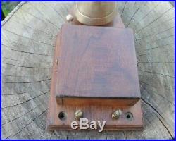 Antique Vintage Wood Brass Wall Mount Electric Door Bell