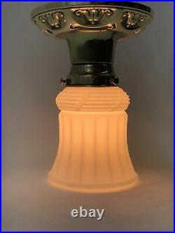 Antique Vtg Brass Art Deco Flush Mount Ceiling Light Fixture & White Glass Shade