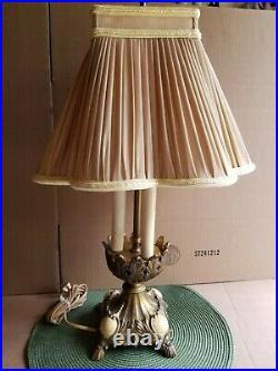 Antique Vtg Italian Bronze Brass Bouillotte Custom Shade 21 Table Lamp