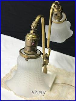 Antique Vtg Victorian Art Deco Brass Student Desk Table Lamp, Glass Tulip Shades