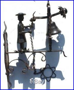 Antique Vtg Wrought Iron & Brass Wall Mount Servant Hotel Door House Bell