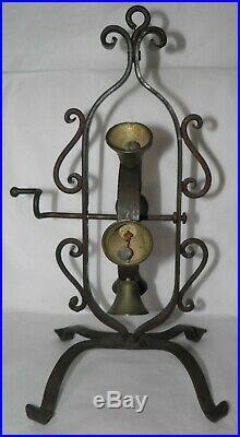 Antique WROUGHT IRON & BRASS Hand Crank Wheel of Bells 1800s Shop or Dinner Bell