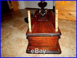 Antique Wesco Crank Wall Telephone Wood Box Public Phone Nashville Brass Bell