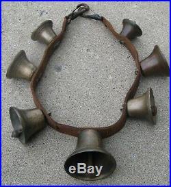 Antique Wide Leather Strap Of Lg Brass Bells For Horse Multi Sizes Great Sound