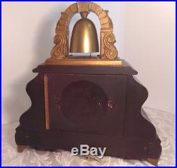 Antique William L Gilbert Curfew Bell Brass Mantel Clock. Working