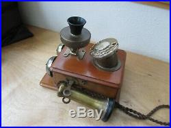 Antique Wood Box Telephone Rotary Dial, Brass, Bells