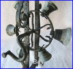 Antique Wrought Iron & Brass Rotating Wheel Mechanical Door Bell, Ring of bells