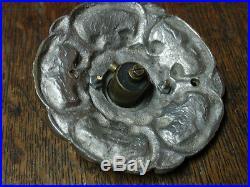 Antique and rare bronze nickel plated door push bell