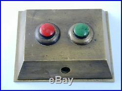 Antique art deco brass bell pusher two buttons butler maids bell circa 1920s