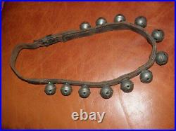 Antique brass Sleigh Bells HORSE grelot LEATHER STRAP art craft primitive