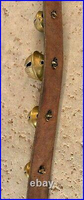 Antique brass sleigh bells -15 gradated Bells leather strap with buckles