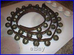 Antique brass sleigh bells 36 bells on leather 83 long