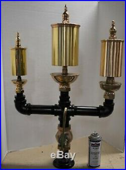 Antique brass steamboat style 3 bell chime steam whistle