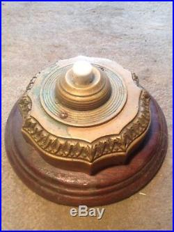 Antique front door bell press. Neo gothic Edwardian. Brass