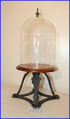 Antique handmade Arts and Crafts brass glass wood display bell cloche jar case