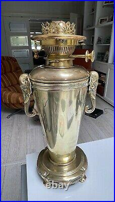 Antique large brass oil lamp Elephant handles and HInks no2 burner toggle bell