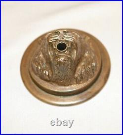 Antique realistic brass bronze lion door bell ringer salvage figural hardware