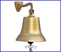 Antiqued Brass Finish Solid Aluminum Ship's Bell 10 Nautical Hanging Wall Decor