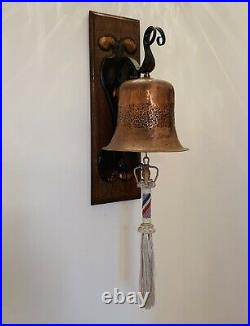 Arts & Crafts Hammered Copper and brass ships bell with bell rope (c1890-1900)