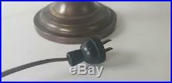 Arts Crafts Misson Helmet Lamp Brass Bell Shade Stickley Roycroft Table Desk