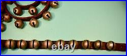 BEVIN Antique NICKEL PLATED BRASS Sleigh JINGLE 7.5 Leather and 48 Bells 0 20 5