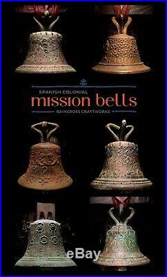 BRONZE SPANISH COLONIAL BELL, Vtg Old Ornate Brass Antique Mexico Mission Church