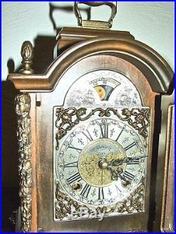 Beautiful 8 Days Dutch WARMINK Bracket/Mantel/ Clock Moon phase 2 Bell Chimes
