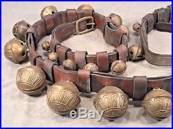 Beautiful Antique Brass Leather Strap Belt & 27 Horse SLEIGH BELLS Christmas