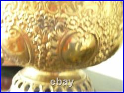 Beautiful Antique NEW ROCHESTER Ornate Embossed Brass Oil Lamp Red Quilt Shade