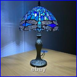 Beautiful Dragonfly Design Tiffany Style Table Desk Lamp Stained Glass Shade UK