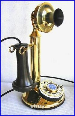 Beautiful Western Electric Dial Candlestick Brass Cow Bells Antique Telephone