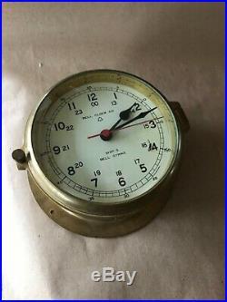Bell Clock Co. Vintage brass 6 Ships Bell strike Clock excellent