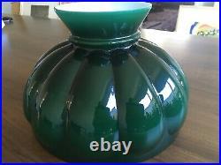 Bradley & Hubbard Vintage RAYO BRASS OIL LAMP Green Glass Shade 1894-1898