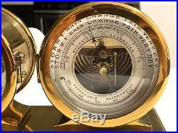 Brass Chelsea Ship's Bell Clock & Barometer Desktop All Brass Vintage