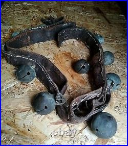 Brass Sleigh Bells Leather Horse Antique Plated