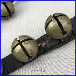 Brass Sleigh Bells on 98 Leather Strap 38 Tucker Double Throat Vintage Antique