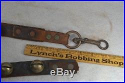 Brass sleigh bells 66 leather strap 22 bells 1.75 across original 1800s
