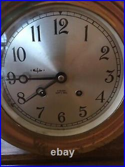 CHELSEA 6 VINTAGE SHIPS BELL CLOCK WithFACTORY MAHOGANY BASE, KEY, PAPERS