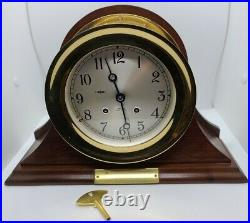 CHELSEA Brass SHIP'S BELL Nautical Round Hinged Bezel Mantel Clock with Stand