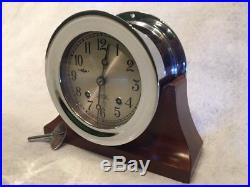 CHELSEA CLOCK CO. SHIPS BELL CLOCK 4.5 DIAL With WOOD BASE Pristine Vintage Cond