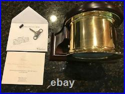 CHELSEA SHIPSTRIKE Ship's Bell Mantle Clock Brass 6 Mahogany Stand with KEY