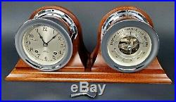 CHELSEA SHIPS BELL CLOCK & BAROMETER 1950's with NICKEL PLATED CASE & WOODEN STAND