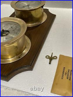 CHELSEA SHIPS BELL CLOCK & BAROMETER SET WITH Wall Wood