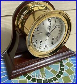 CHELSEA SHIPS BELL CLOCK MAHOGANY BASE 4 1/2 IN DIAL Ca. 1992 NEAR MINT