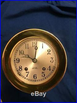 CHELSEA SHIP'S BELL 41/2 DIAL CLOCK WithHINGE BEZEL YEAR 1964 ALL WORKING