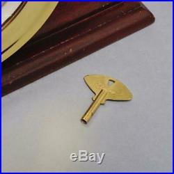 CHELSEA SHIP'S BELL 6 BRASS CLOCK 11 JEWELS, MAHOGANY BASE, #88759, 1980s