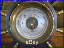 CHELSEA VINTAGE SHIPS BELL CLOCK & BAROMETER SET CLAREMONT Ships Wheel Trim