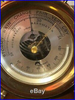 CHELSEA Vintage Ship's Bell Barometer / Thermometer'CLAREMONT' Captain's Wheel