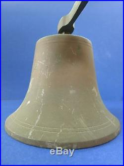 C. 1900 Antique 8.5 Ship School OLD BRASS Triangle Mount Bell with Verdigris